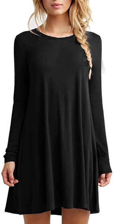 TALLA XXL. HUAYIN Vestidos Casuales Cortos Verano, Vestidos Holgados De Talla Grande Mujer Camiseta Color SóLido con Cuello Redondo Black-long Sleeve XXL