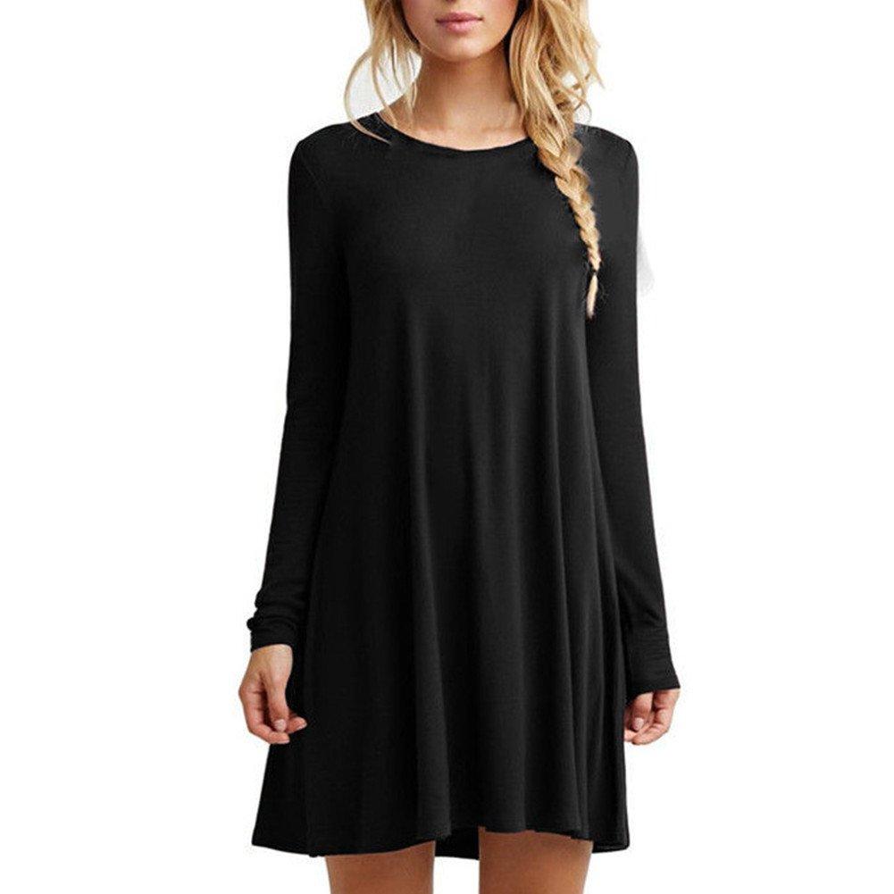 TALLA S. HUAYIN Vestidos Casuales Cortos Verano, Vestidos Holgados De Talla Grande Mujer Camiseta Color SóLido con Cuello Redondo Black-long Sleeve