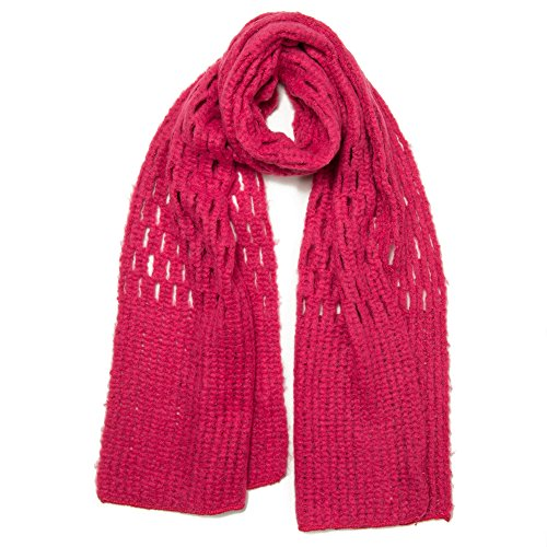 Free Spirit Crochet Knit Honeycomb Stitch Muffler Scarf Shawl for Women & Girls - Lightweight & Versatile for all Seasons with 6 Colors (Pink)