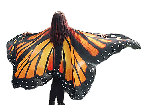 Ryshman Women Cape Halloween Shawl Wrap Printed Butterfly