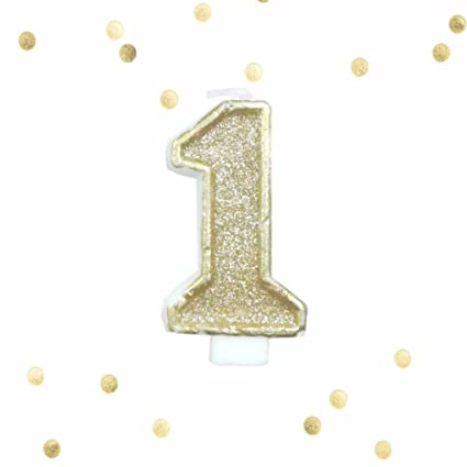Amazon Light Gold Glitter 1st Birthday Candle Number 1