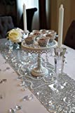 """SoarDream Sequin Table Cloth, Sequin Table Runner, Sequin Tablecloth, Silver. (12""""*50"""")"""