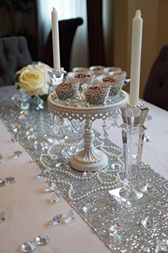 SoarDream Sequin Table Cloth, Sequin Table Runner, Sequin Tablecloth, Silver. (12