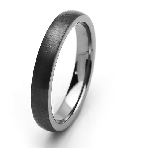 Pequeños Tesoros - 4MM Carburo De Tungsteno - Anillo De Matrimonio Hombres Mujeres Libre de cobalto