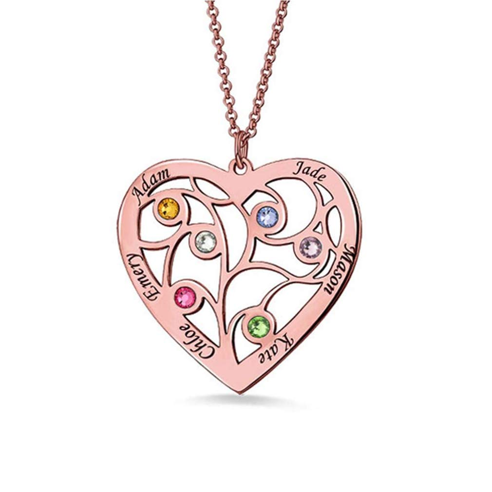 brcx 925 Sterling Silver Heart Family Tree Necklace Name Necklace Engraved with 6 Names/& 6 Birthstones for Mother