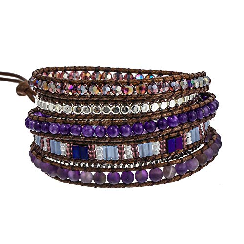 IUNIQUEEN Boho 5 Wraps Handmade Beaded Statement Stainless Steel Box Chain Bracelet Jewelry Collection for Men and Women (Fashion)
