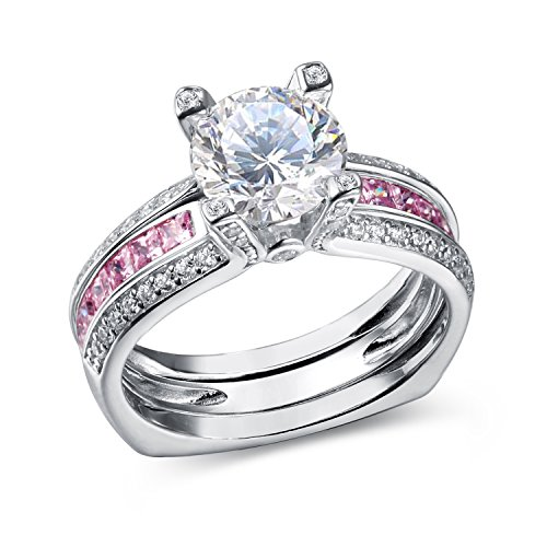 Newshe Jewellery Round Pink Cz 925 Sterling Silver Wedding Band Engagement Ring Sets Size 7