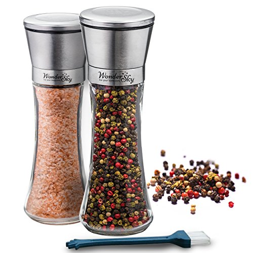 ONE DAY SALE | Salt and Pepper Shakers Grinders Set of 2 Mills-Brushed Stainless Steel 6 Oz Glass Body Professional 5 Grade Adjustable Ceramic Rotor-Best Kitchen Gift-FREE Utility Brush by Wonder Sky