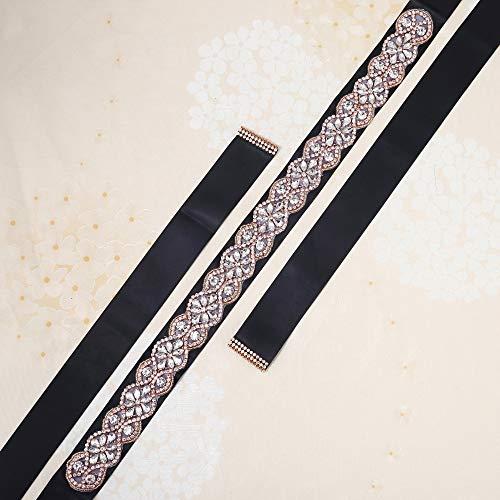 Crystal Bridal Wedding Sash Rhinestone Beaded Formal Dress Belt All Around in Sliver or Rose Gold Claws (Rose Gold - Black) …