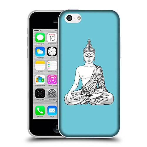 GoGoMobile Coque de Protection TPU Silicone Case pour // Q09980627 Bouddha assis 9 Cyan // Apple iPhone 5C