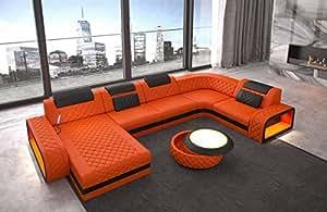 Cuero Conjunto de Muebles Para Salón Berlín NARANJA-NEGRO ...