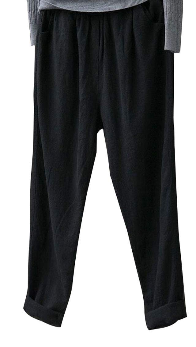 Soojun Womens Cotton Linen Loose Fit Elastic Waist Harm Pant, Deep Black, Medium