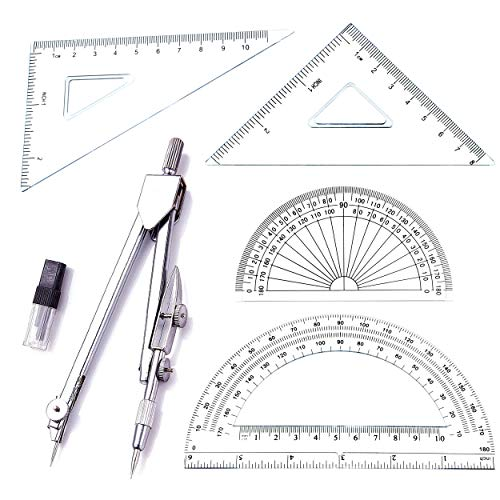 (Student Drawing Compass Math Geometry Tools (5 pcs-Compass-Silver))