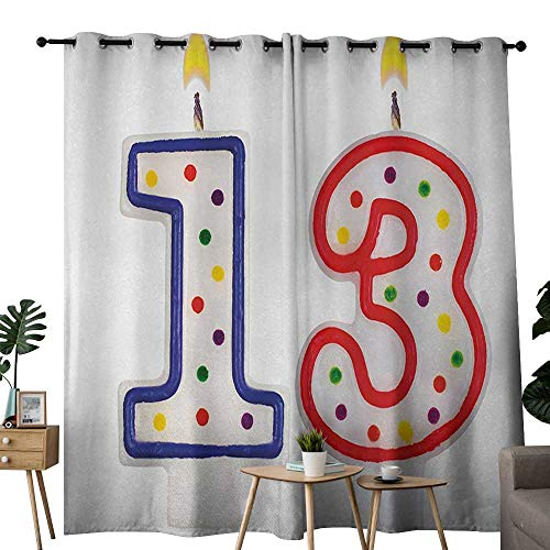 (NUOMANAN Decor Curtains by 13th Birthday,Cute and Sweet Colorful Burning Candles Number Thirteen Party Objects Print,Multicolor,Wide Blackout Curtains, Keep Warm Draperies, Set of 2)