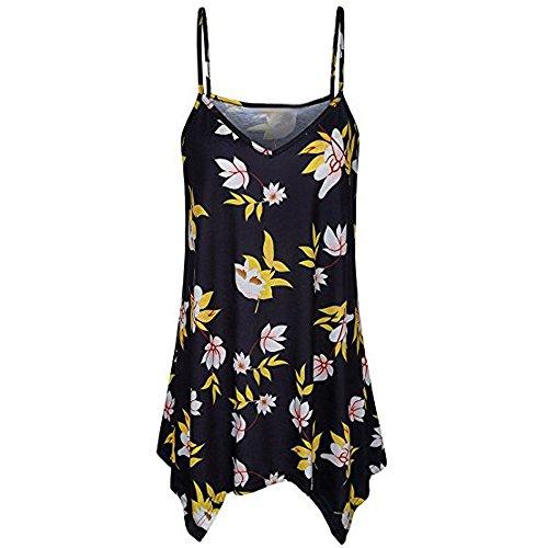 HGWXX7 Women Plis Size Loose Solid Irregular V Neck Cami Vest Blouse Tank Tops (XL, Yellow Print)