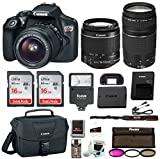 Canon Rebel T6 DSLR Camera w/18-55mm & 75-300mm Lenses Canon 100ES Bag, Flash