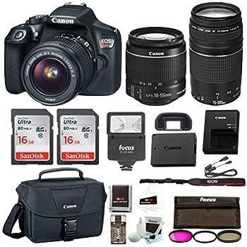 Canon Rebel T6 DSLR Camera w/18-55mm & 75-300mm Lenses Canon 100ES Bag, Flash, Filter kit+ 32GB Promotional Holiday Bundle
