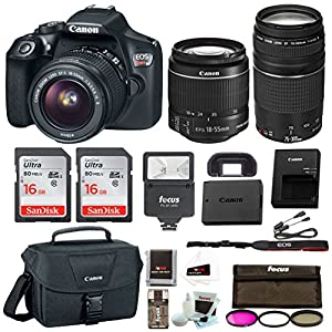 51HGrQ42y%2BL. SS300  - Canon EOS Rebel T6 Digital Camera: 18 Megapixel 1080p HD Video DSLR Bundle with 18-55mm &75-300mm Lenses 32GB (2 x…