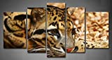 First Wall Art - 5 Panel Wall Art Amur Leopard Lie On Yellow Land Painting The Picture Print On Canvas Animal Pictures For Home Decor Decoration Gift piece (Stretched By Wooden Frame,Ready To Hang)