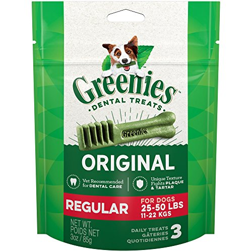 [그리니즈] Greenies Original Regular Dog Dental Chews - 3 Ounces 3 Treats, 1 Pouch [덴탈 치석 관리]