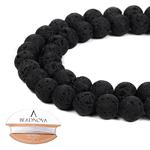Eruption Natural (BEADNOVA 8mm Natural Black Lava Rock Stone Gemstone Round Loose Volcanic Beads with Free Crystal Stretch Cord For Jewelry Making (40-42pcs))