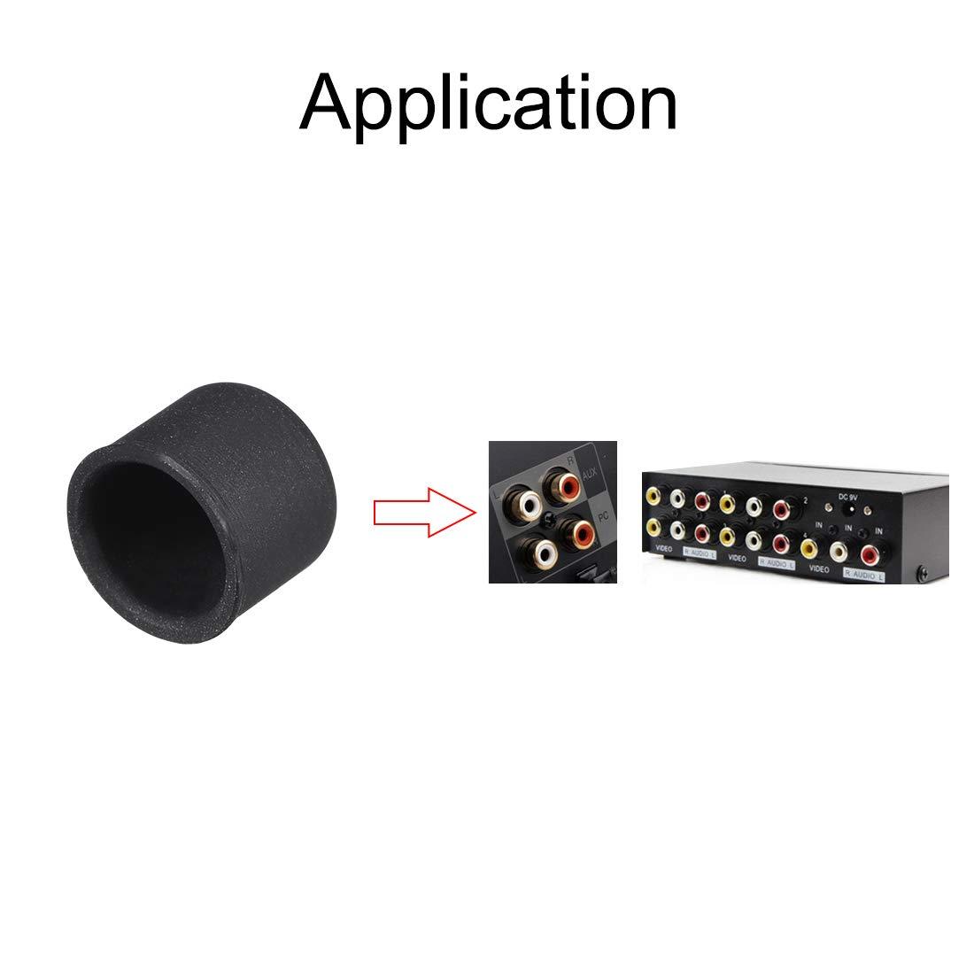 10 Unidades Tap/ón de Silicona para Puerto RCA Sourcingmap Color Negro