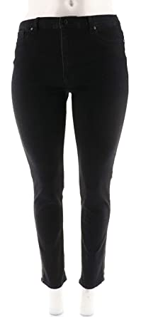 9bdc2ac78986 DG2 Diane Gilman Virtual Stretch Jeweled Skinny Jean Chain Black 10 New  570-542