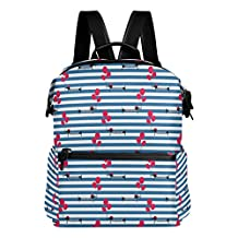 French Style Dachshund Dog Striped Blue Lightweight WaterproofPolyester Large CapacityBackpack Campus Backpack TravelDaypack
