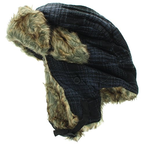 (Milani Original Trapper Flannel Plaid Pattern Style Hunting Aviator Winter Hat with Faux Fur and Strap )