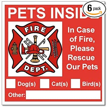 6 Pets Inside Red Safety Alert Warning Window Door Stickers; In Fire Or  Emergency They