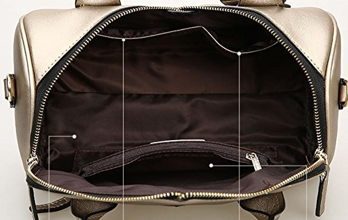 Longzibog Dual verstellbare Schultergurte und H?ngeschlaufenband Mode Simple Style Fashion Tote Top Handle Schulter Umh?ngetasche Satchel Braun