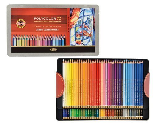 Koh-I-Noor Polycolor Drawing Pencil Set, 72 Assorted Colored Pencils in Tin, 1 Each (FA3827) by Koh-I-Noor (Image #2)