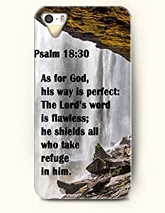 iPhone 5 5S Case OOFIT Phone Hard Case ** NEW ** Case with Design Psalm 18:30 As For God, His Way Is Perfect:The Lord'S Word Is Flawless; He Shields All Who Take Refuge In Him.- Bible Verses - Case for Apple iPhone 5/5s