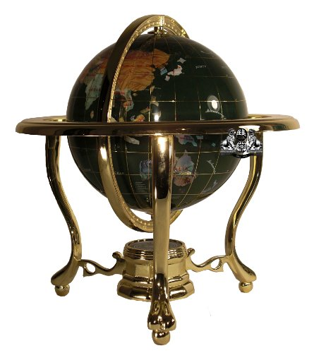 (Unique Art 13-Inch Tall Malachite Green Ocean Table Top Gemstone World Globe with Gold Tripod)