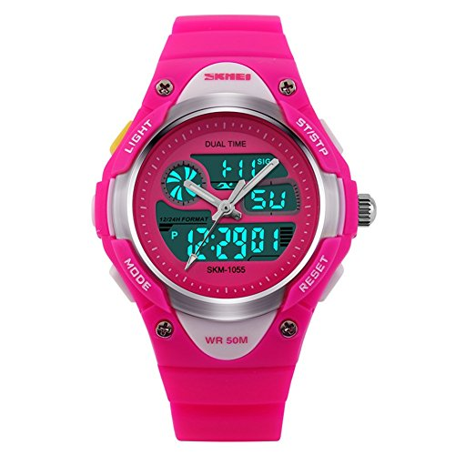 Children Watch Boys Girls Outdoor Sports Watch Digital Analog LED Quartz Watch Waterproof Sports Wrist Watch-Pink
