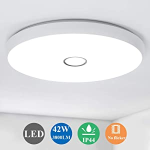 Airand 42W LED Ceiling Lights Flush Mount, 19.3in Round Ceiling Light Fixture, LED Light Fixture for Living Room, Bedroom, Kitchen, Dining Room, Office, 3800LM Ceiling Lamp, 5000K Daylight White