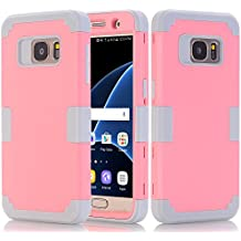 S7 Case, Galaxy S7 Case, Speedup Hybrid Heavy Duty Shockproof Full-Body Protective Cover Case 3-Piece High Impact Hybrid Defender Case for Samsung Galaxy S7 SM-G930 (Pink + Grey)