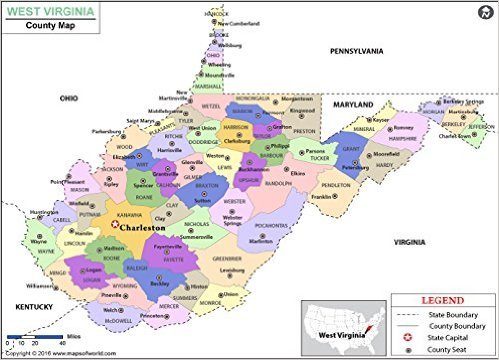 Amazoncom West Virginia County Map 36 W x 25 H Office Products