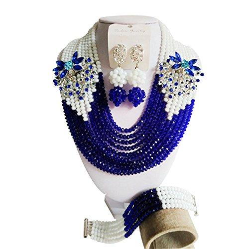 laanc niña 10filas de azul y blanco cristal boda de Nigeria África collar pulsera pendientes joyería conjuntos