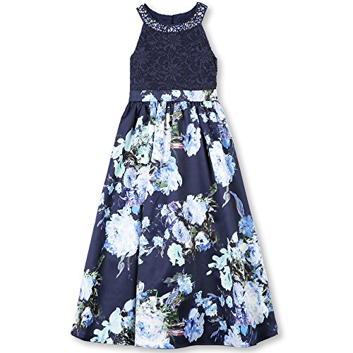 Jeweled Floral Print Dress - 4
