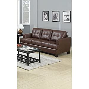 CDecor Lusene Contemporary Leather Sofa Brown
