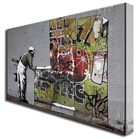 Banksy Wallpaper Hanging Graffiti Box Canvas Art Print Picture Large 521