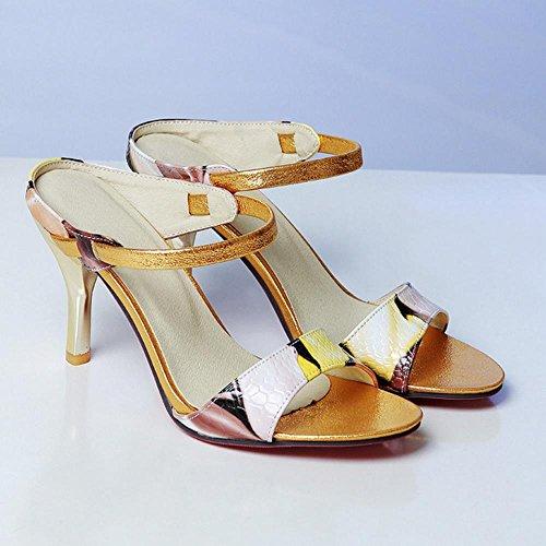 RAZAMAZA Women Fashion High Heels Mules Sandals Yellow nKXiiGO