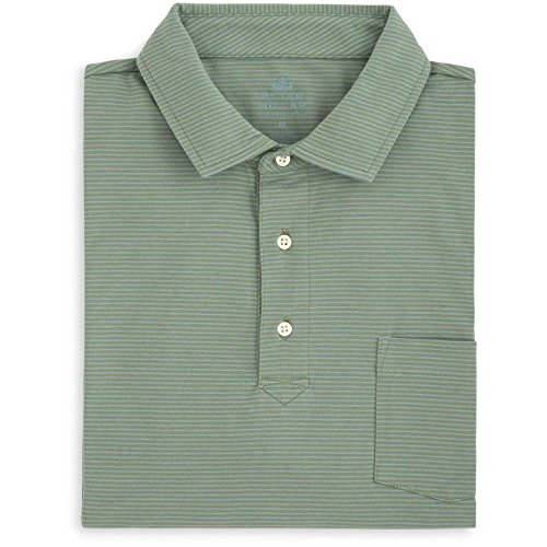 PETER MILLAR Men's Mountainside Mitchell Stripe Polo w/SEA Island Resort Logo Shirt (Spruce Pine) - L