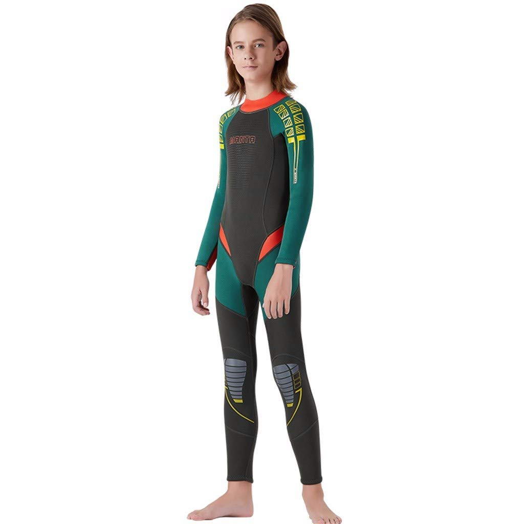 MTENG Kids Girl Boy Scuba One-Piece Diving Suit 2.5MM Neoprene Keep Warm Snorkeling Wetsuit Surfing Swimwear by MTENG