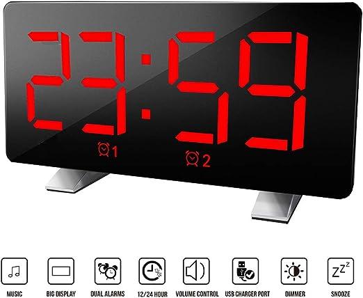 Houkiper Relojes de Alarma Digitales, Pantalla Digital Ultra Clara ...