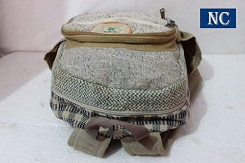 Pure Hemp Natural Light Greay Color Backpack Handmade Nepal with Laptop Sleeve - Fashion Cute Travel School College Shoulder Bag / Bookbags / Daypack by Nepal Hemp House (Image #2)
