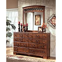 Timberline B258-31 60 8-Drawer Dresser with Replicated Cherry Grain Details Side Roller Glides and Decorative Hand Pulls in Warm Brown