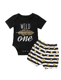 ONE'S Baby Girls Wild Feather Bodysuit Romper + Polka Dot Short 1st Birthday Outfits