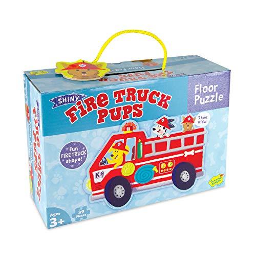 Peaceable Kingdom Shiny Fire Truck Pups Floor Puzzle